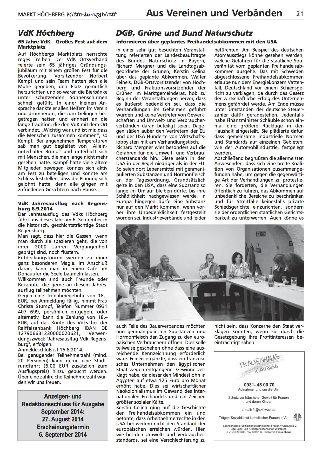 Artikel im Höchberger Mitteilungsblatt über die TTIP-Veranstaltung in Höchberg