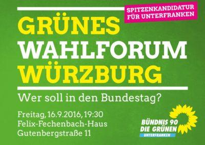 Plakat zum grünen Wahlforum