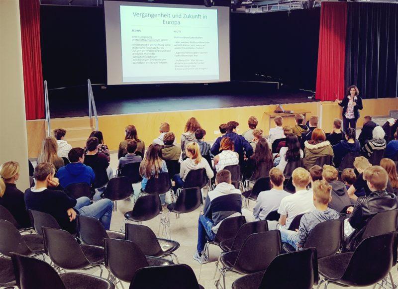 Kerstin Celina und Schüler*innen der Mittelschule während der Diskussion zur Entwicklung Europas.