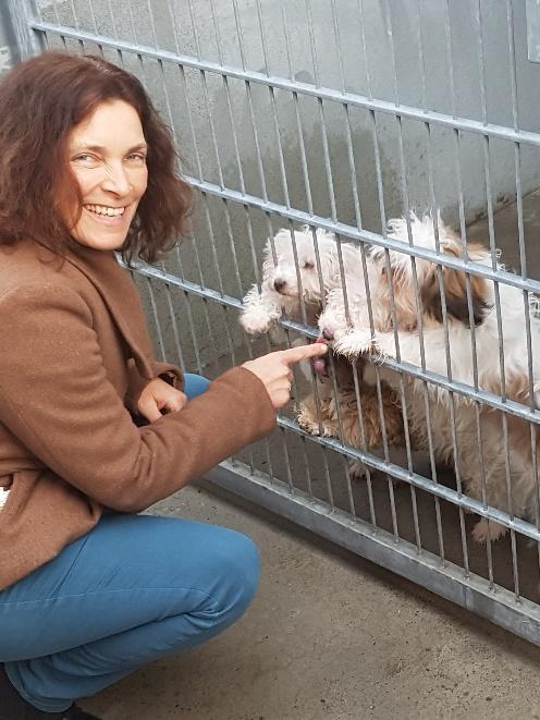 Kerstin Celina während des Besuchs des Schwebheimer Tierheims.