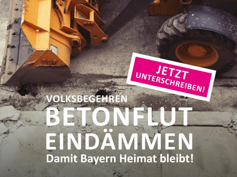 Sharepic zum Volksbegehren: Betonflut eindämmen!