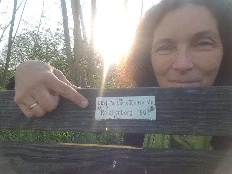 Kerstin Celina auf dem Weg zum Obst-und Gartenbauverein Reichenberg.