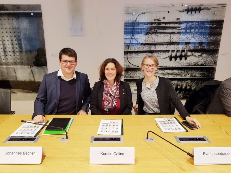 Johannes Becher, Kerstin Celina und Eva Lettenbauer im Ausschuss für Gesundheit und Pflege.