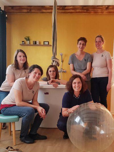 Kerstin Celina mit dem Team von Main Geburtshaus.
