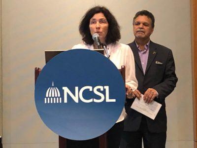 Kerstin Celina während eines Redebeitrags auf der NCSL-Konferenz.