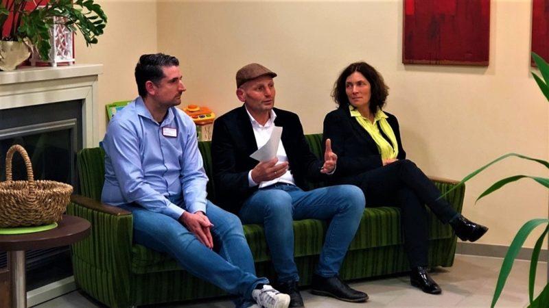 Tobias Dedio, Frank Meidhof und Kerstin Celina in Goldbach.