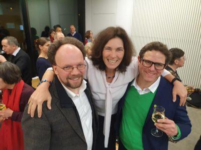 Patrick Friedl, Kerstin Celina und Martin Heilig beim Neujahrsempfang des Bischofs in Würzburg.